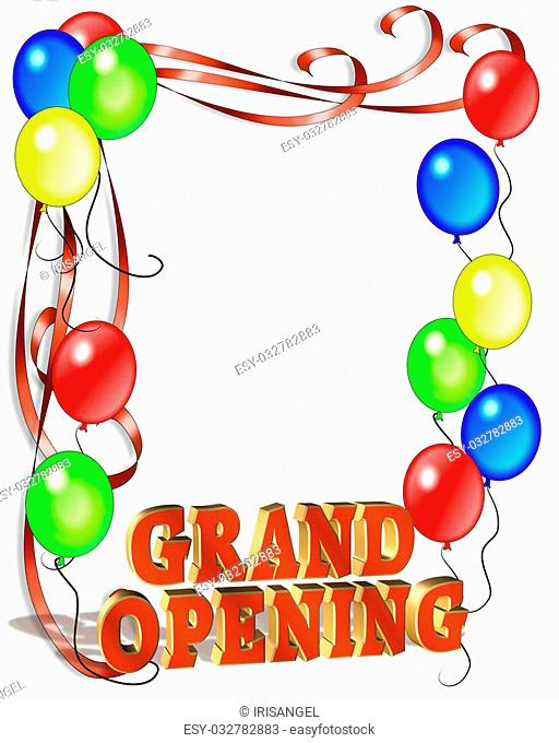 Illustration composition for Grand Opening Celebration template, poster or announcement with copy space and 3D text