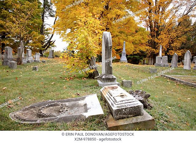Prospect Cemetery during the autumn months  Located in Epping, New Hampshire USA which is part of scenic New England