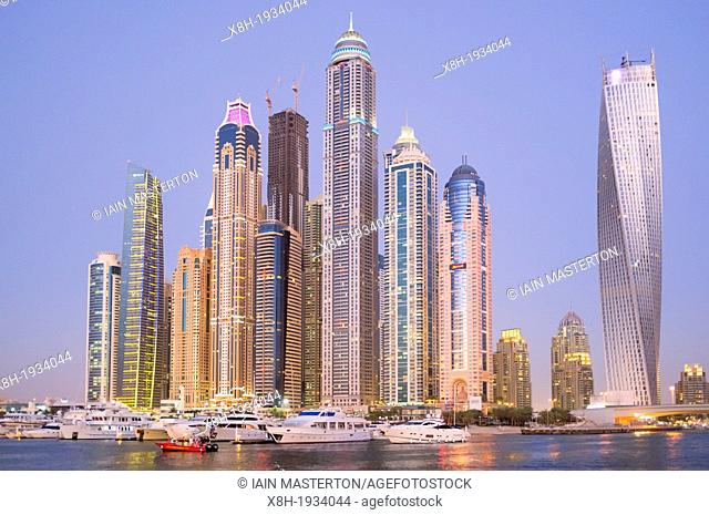 Evening kyline of skyscrapers in marina area at New Dubai in United Arab Emirates