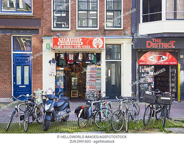 Shops in the red light district, Amsterdam, Netherlands