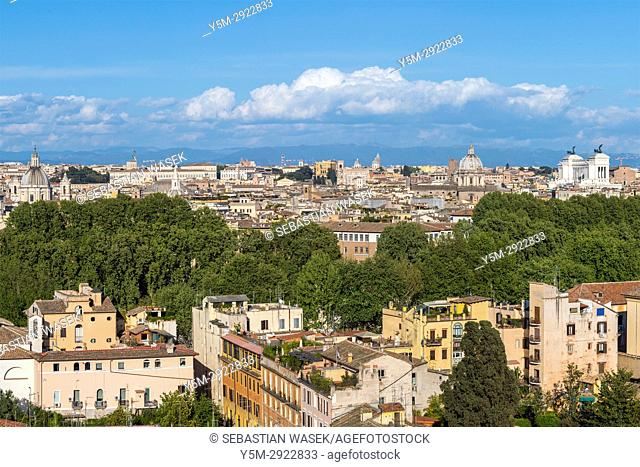 View over city from Janiculum Hill, Rome, Lazio, Italy, Europe