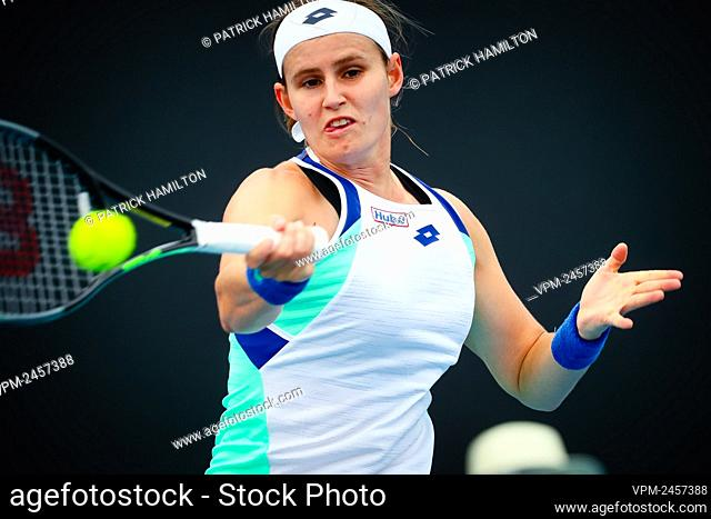 Belgian Greet Minnen pictured during a tennis match between Belgian Greetje 'Greet' Minnen (WTA 119) and Chinese Fang Ying Xun (WTA 245)