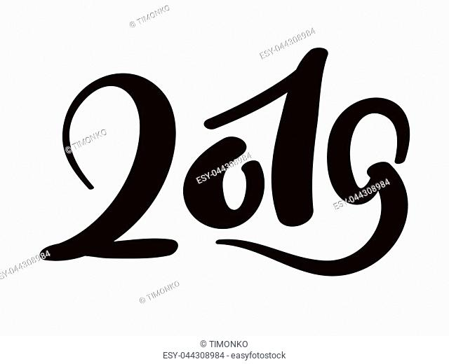 Greeting card design template with chinese calligraphy 2019 New Year grunge number 2019 hand drawn lettering. Vector illustration