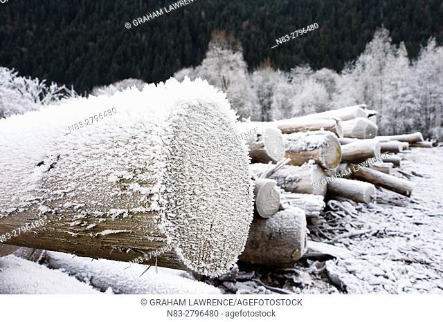 A frosty landscape in the Vallée du Beaufortain, Savoie, France, Europe