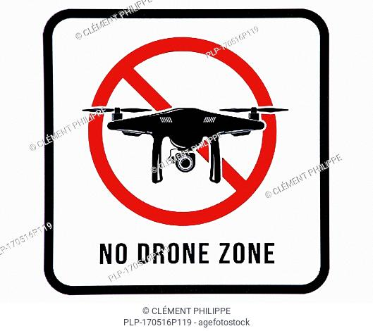 No drone zone sign prohibiting drones from flying over restricted area