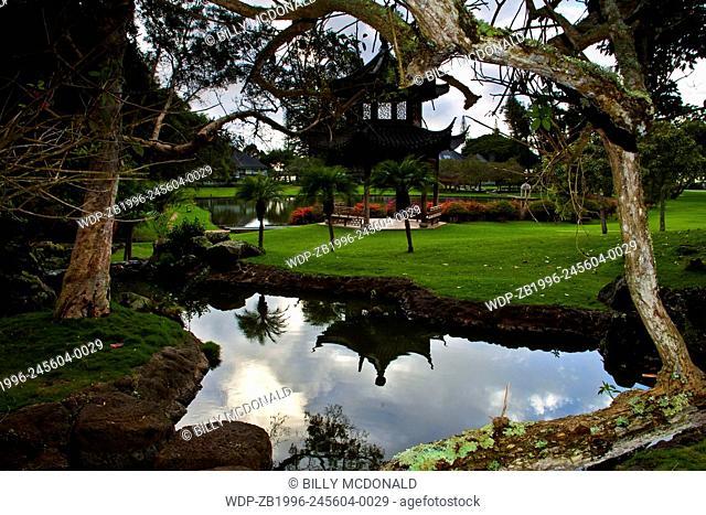 Japanese Pagoda Reflection in Small Pond at The Koele Lodge, Lanai, Hawaii, USA