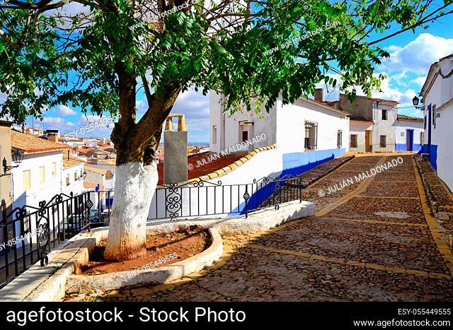 Campo de Criptana, Spain - November 1, 2018: Streets of the town of Campo de Criptana
