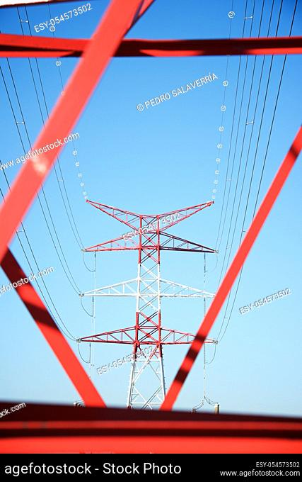 Power line and clear sky in Zaragoza province, Aragon in Spain