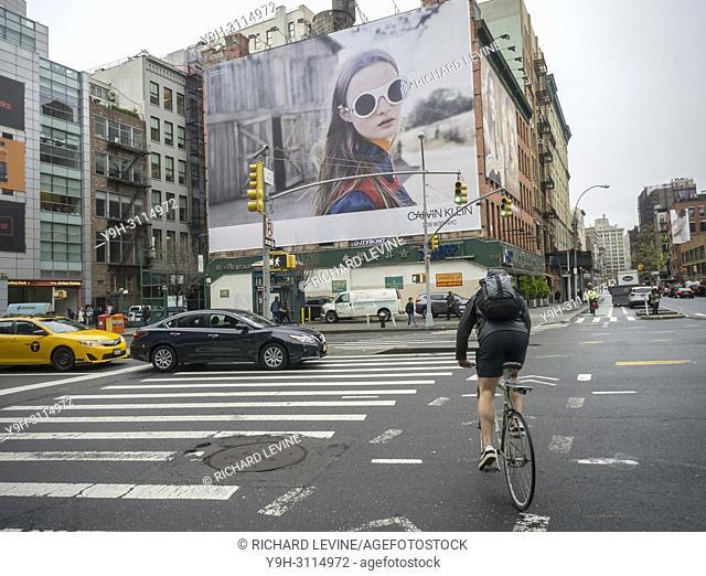 "A billboard advertising the rebranded """"CALVIN KLEIN 205W29NYC"""" eyewear in the Soho neighborhood of New York on Wednesday, April 25, 2018"