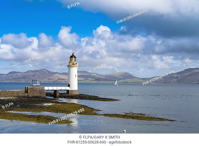 View of coast and lighthouse, Rubha Nan Gall Lighthouse, Isle of Mull, Inner Hebrides, Scotland, May