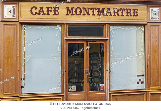 A traditional Parisian cafe in Montmartre, Paris, France, Europe