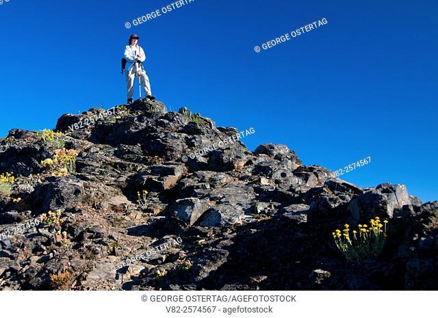 Hiker on Dome Rock, Willamette National Forest, Oregon
