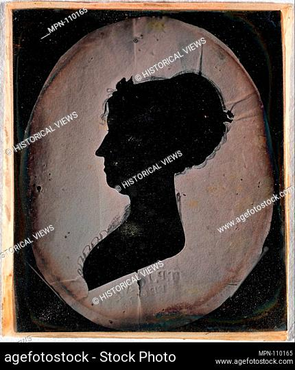 [Paper Silhouette Portrait of a Woman]. Artist: Unknown (American); Artist: After T. P. Jones (American); Date: 1840s-50s; Medium: Daguerreotype; Dimensions:...