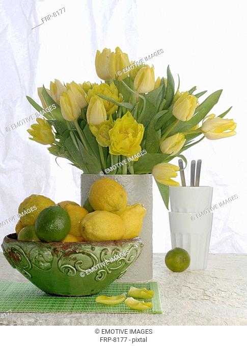 Bouquet of yellow tulips and a bowl of citrus fruits