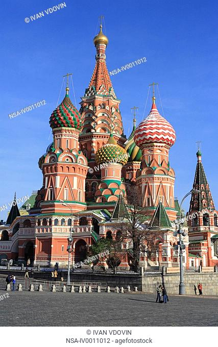 Domes of St  Basil's cathedral, Red square, Moscow, Russia