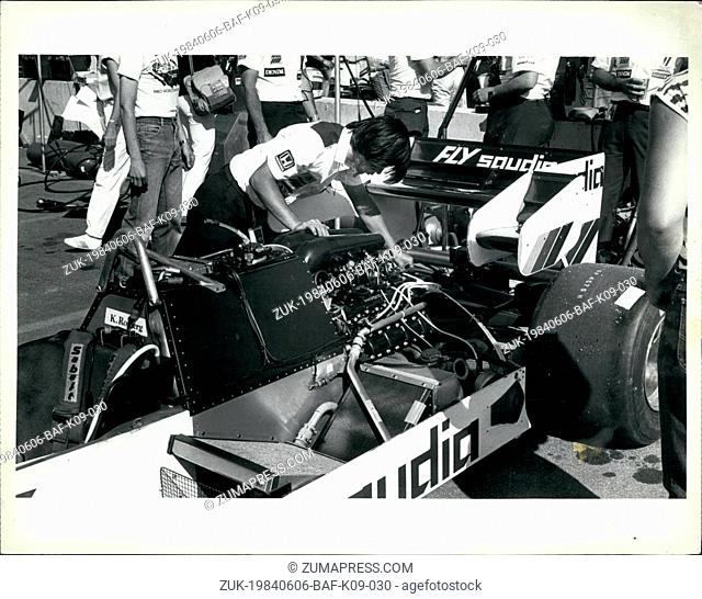 Jun. 06, 1984 - Detroit Grand Prix: Member of the pitt crew for the Williams racing team checks over the Formula- one car to be driven by former World-Champion...
