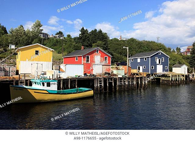 colorful fish shacks in the fishing village Northwest Cove near Peggys Cove, St Margarets Bay, Nova Scotia, Canada, North America