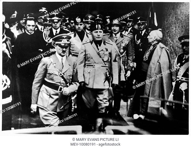 Hitler's visit to Italy - wreath laying in the Pantheon Rome, from right; Hitler, Mussolini, German Ambassador for Italy, Rudolf Hess, Count Ciano and v