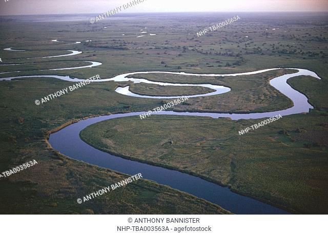 MEANDERS & OXBOW LAKE Aerial view of floodplain of Okavango River, Botswana