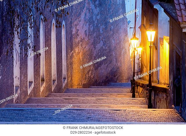 czech republic, prague - old castle stairway at hradcany at dusk