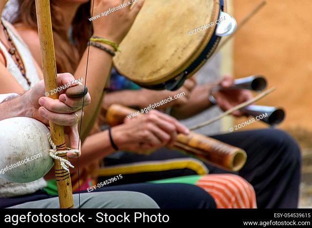 Brazilian musical instrument called berimbau and others usually used during capoeira brought from africa and modified by the slaves