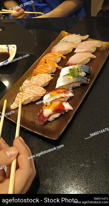 Sushi platter (salmon, octopus, mackerel and others) at a restaurant near Kyoto station, Japan