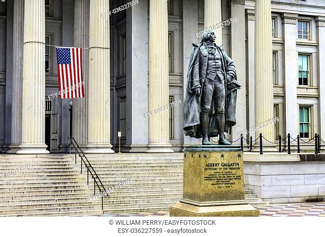 Albert Gallatin Statue US Flag US Treasury Department Washington DC. Statue by James Fraser and dedicated in 1947