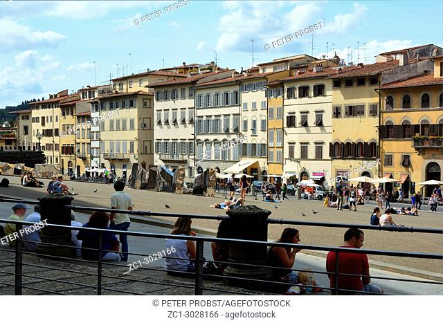 Tourists on the Piazza de Pitti in front of the Palazzo Pitti in Florence - Italy