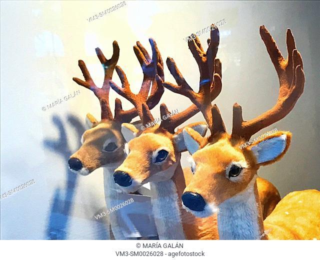 Three fluffy reindeers in a shop window