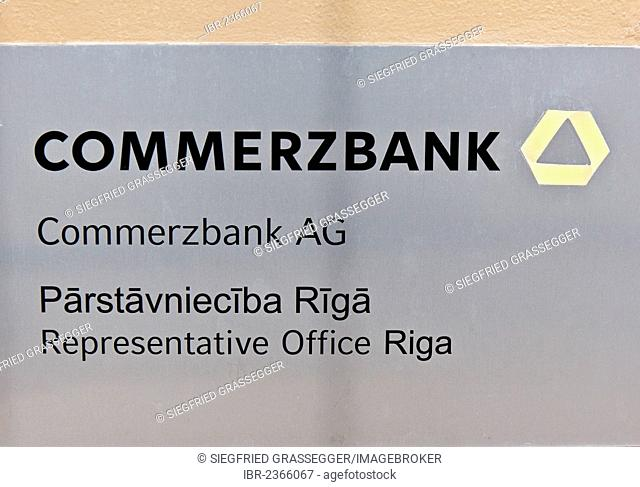 Sign, branch of the German bank Commerzbank AG, representative offices in Riga, Latvia, Europe