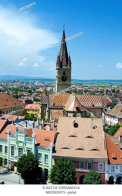 Aerial overview of Sibiu, Romania