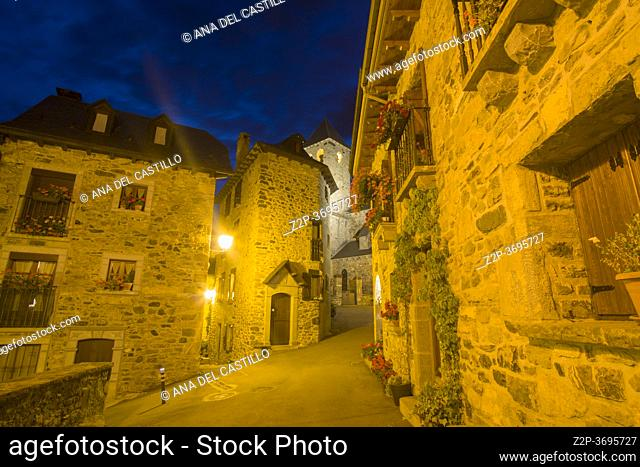 Lanuza Huesca Aragon Spain on August 21, 2020: The village had to be abandoned in the 70's to build the reservoir and has been renovated by the original owners