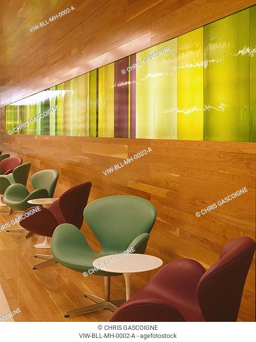 MCGRAW HILL OFFICES, 20 CANADA SQUARE, LONDON, E14 POPLAR, UK, BOVIS LENDLEASE LTD, INTERIOR, RECEPTION WALL & SEATING