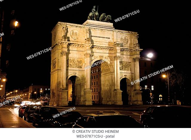 Victory Gate in Munich at night, Bavaria, Germany