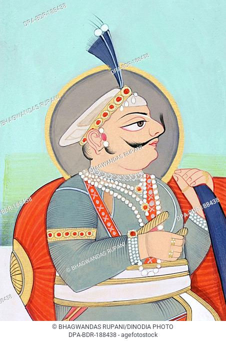 Miniature painting of Maharaja Prithviraj Chauhan Ajmer 1193