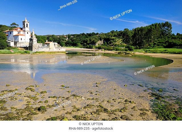 Niembro Bay with church and cemetery of Los Dolores at low tide, near Llanes, Asturias, Spain, Europe