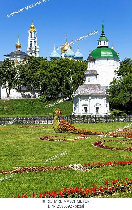 Bird sculpture made of flowers (foreground), The Holy Trinity Saint Serguis Lavra; Sergiev Posad, Sergiyevo-Posadsky District, Moscow Oblast, Russia