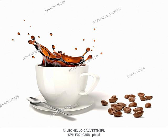 Liquid coffee splash in a white cup on saucer and spoon, With some coffee beans besides on the floor