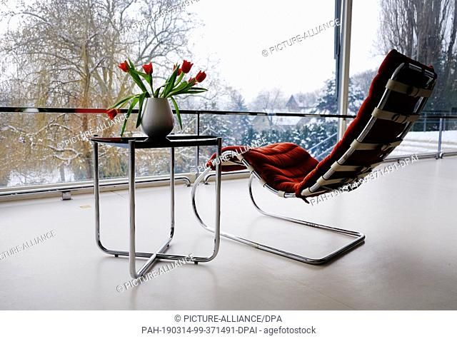 28 January 2019, Czechia, Brünn: Table, chair and flowers are in Villa Tugendhat, designed by Mies van der Rohe for an industrial family in Brno