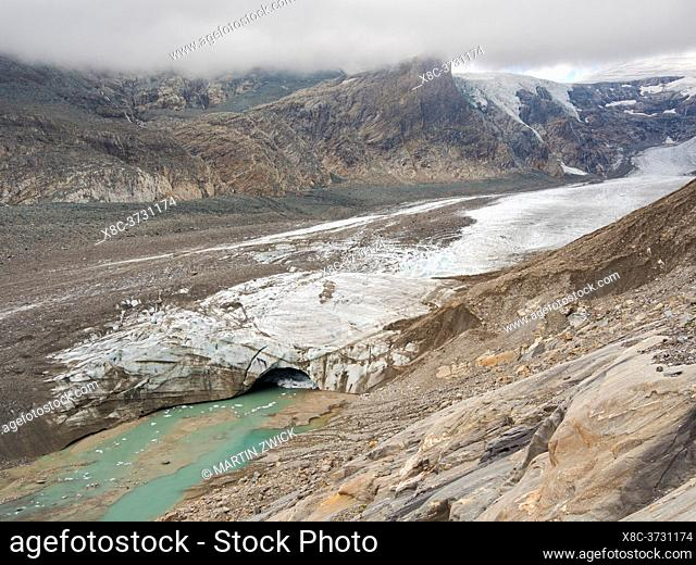 Glacier Pasterze at Mount Grossglockner, which is melting extremely fast due to global warming. Europe, Austria, Carinthia