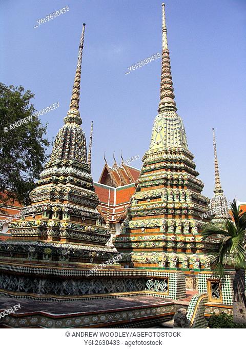 Colourful mosaic stupas Wat Po Bangkok Thailand