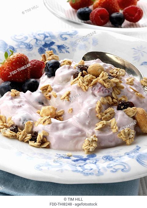 Berry yoghourt with fresh ripe fruit strawberries raspberries blueberries