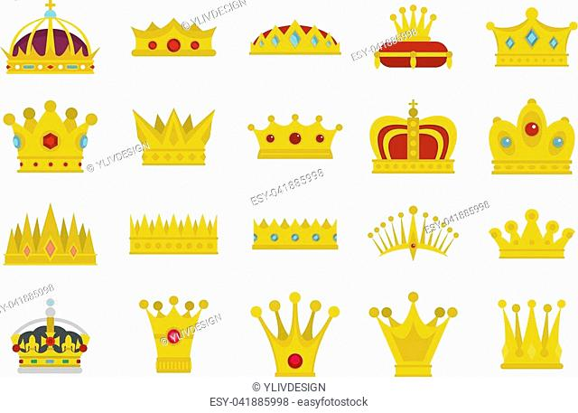 Crown icon set. Flat set of crown vector icons for web design isolated on white background
