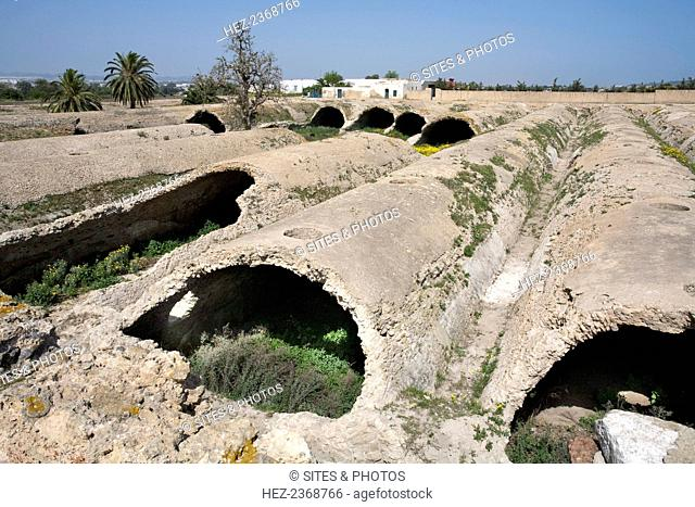 The La Malga cisterns at Carthage, Tunisia. The La Malga cisterns were built by the Romans to store water brought from the Zaghouan hills in an aqueduct...