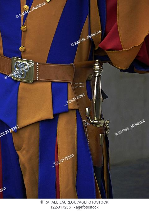 State of the Vatican City (Italy). Details of the suit the Pontifical Swiss Guard was responsible for the safety of the Pope and the Vatican City