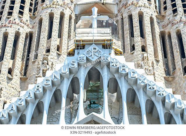 Symmetric View of Buttresses and Cross, Temple Expiatori de la Sagrada Família, Barcelona, Spain