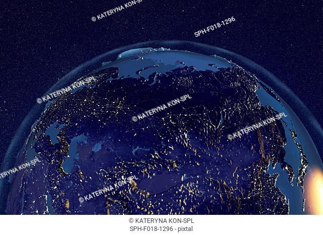 Earth from space. Computer illustration showing the Earth as viewed from space, centred over Northern Africa
