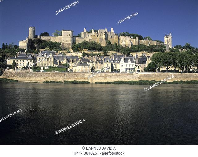 castle, Chinon, Chateau, city, fortress, France, Europe, Indre et Loire, Loire Valley, old town, river, town, Vienne