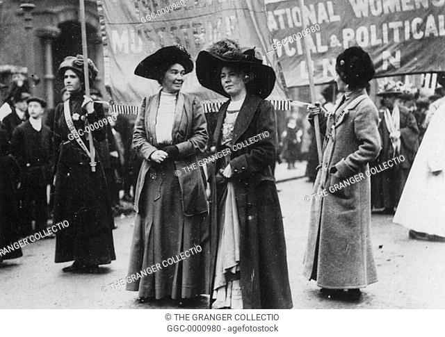 CHRISTABEL PANKHURST(1880-1958). English woman-suffrage advocate. With Mrs. Emmeline Pethick-Lawrence at a suffragette demonstration by the Women's Social and...