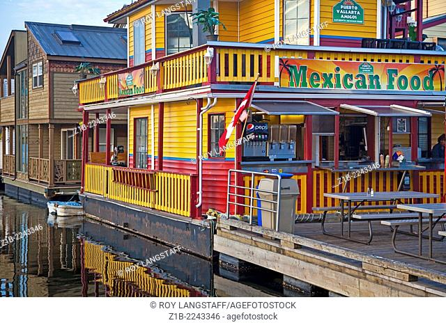 Floating Mexican restaurant at Fishermans Wharf in Victoria, B.C. Canada